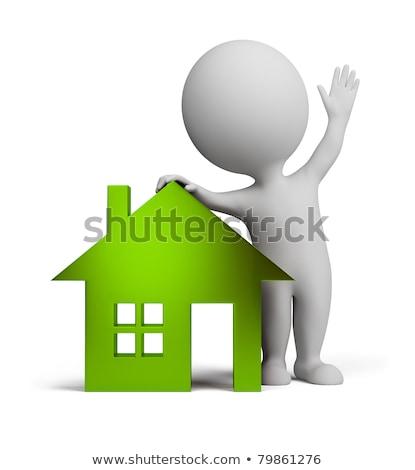 3d osób domu sprzedaży biały domu drzwi Zdjęcia stock © Quka