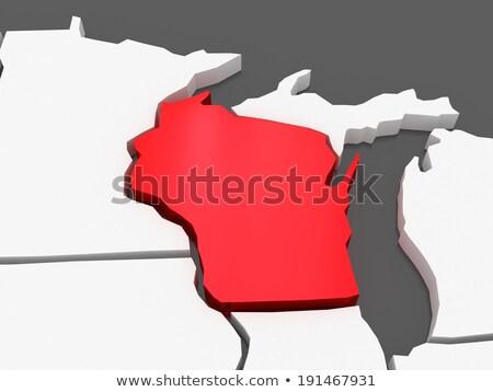 Wisconsin · harita · ABD · kırmızı · renk · seyahat - stok fotoğraf © cteconsulting