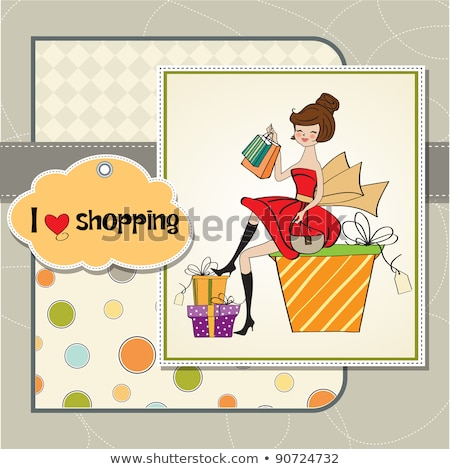 pretty young woman who is happy that she went shopping Stock photo © balasoiu