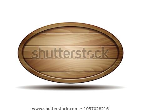 Oval madeira quadro isolado branco projeto Foto stock © Witthaya