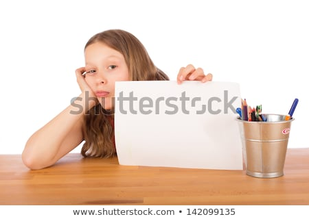criança · branco · folha · sessão · mesa · de · madeira · papel - foto stock © doupix