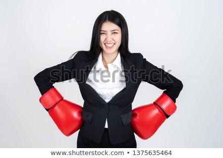 Mosolyog gyönyörű nő visel boxkesztyűk fehér rövidnadrág Stock fotó © stryjek