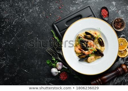 zeevruchten · rijst · heerlijk · kom · tabel · asian - stockfoto © lunamarina