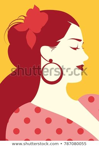 Girl dancing in a red polka-dot dress  Stock photo © RuslanOmega