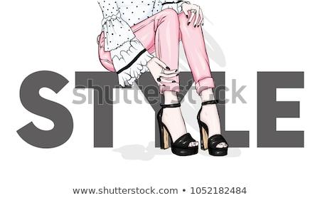 Hosszú lábak nő vásárlás város életstílus divat Stock fotó © lordalea
