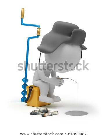 3d small people - winter fishing Stock photo © AnatolyM