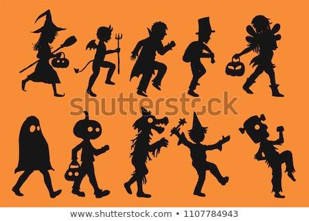 Streich · Halloween · Karte · schwarz · Hand · gezeichnet - stock foto © carodi