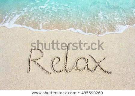 Słowo wakacje żółty plaża piaszczysta tekst lata Zdjęcia stock © Len44ik