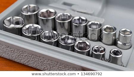 Set of chromeplated wrench and dadoes Stock photo © pxhidalgo