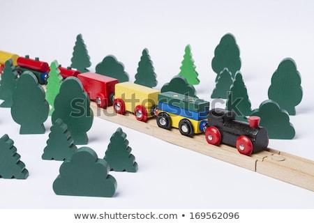 rápido · trem · condução · pequeno · floresta · cenário - foto stock © gewoldi