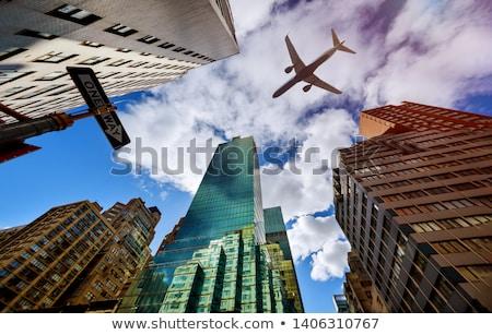 Repülőgép város színes illusztráció vektor Stock fotó © derocz
