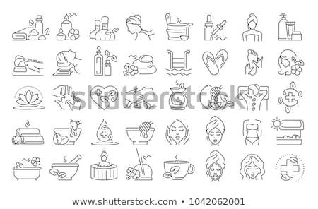 spa · iconen · bloem · ontwerp · glas - stockfoto © vectorpro