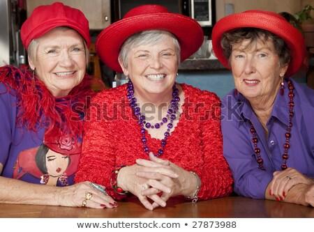 Сток-фото: портрет · красивой · Lady · красный · Hat · цветы