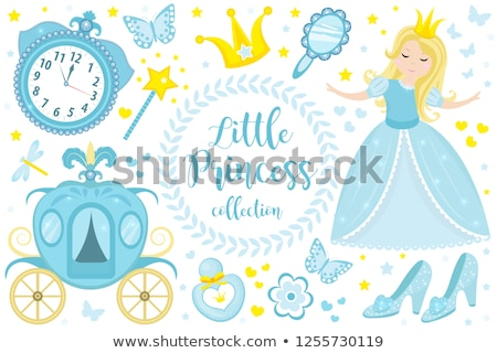 Foto stock: Pequeno · princesa · príncipe · abóbora · vetor