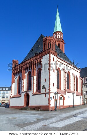 famous old Nikolai Church in Frankfurt at the central roemer pla Stock photo © meinzahn