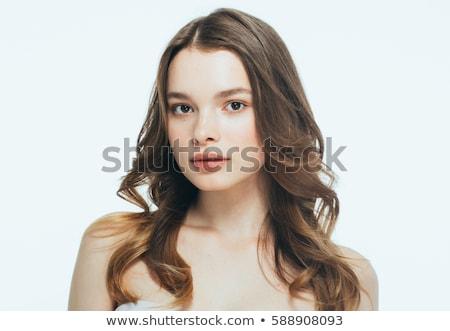 肖像 · 美しい · 幸せ · 女性 · 長い · 茶色の髪 - ストックフォト © meinzahn