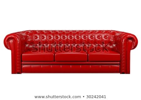 izolált · piros · bőr · kanapé · belső · 3D - stock fotó © ISerg