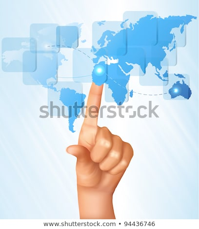 Hand Touch Touchscreen On World Map Shows Internet Web Stock photo © stuartmiles