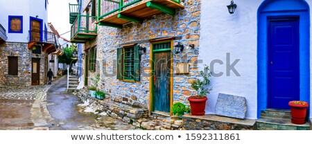 grego · janela · azul · barras · a · casa · branca · Grécia - foto stock © ankarb
