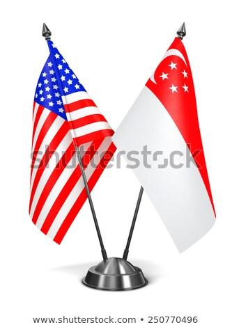 USA Singapore miniatura bandiere isolato bianco Foto d'archivio © tashatuvango