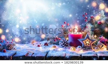 Weihnachten Kerzen drei Dekoration blau voll Stock foto © ElaK