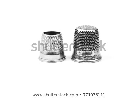 Close up of an old silver thimble Stock photo © lucielang