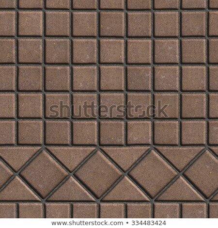 Stock photo: Brown Pave Slabs in the Form of Small Squares and Triangles.