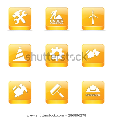 construction tools square vector yellow icon design set 2 stock photo © rizwanali3d