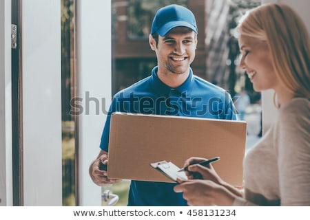 glücklich · Paket · Feld · Zwischenablage · Lieferung - stock foto © wavebreak_media