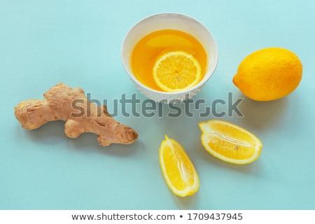 Photo stock: Tasse · thé · citron · table · feuille · verre