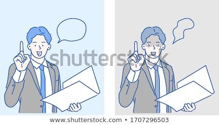 rajz · nő · magyaráz · kéz · terv · őrült - stock fotó © morphart