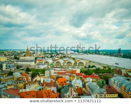 Riga sziluett Lettország északi Európa híd Stock fotó © amok