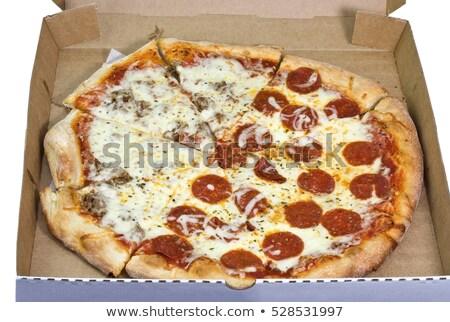 Metade calabresa pizza azeitonas pretas Foto stock © zhekos