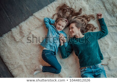 семьи · сидеть · мех · ковер · ребенка · пару - Сток-фото © Paha_L
