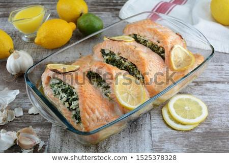 фаршированный · лосося · спаржа · сторона · рыбы · обеда - Сток-фото © cynoclub