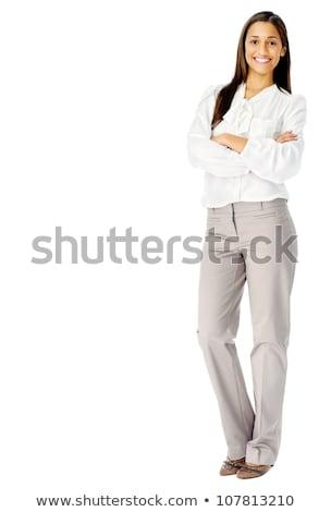 портрет красивой счастливым белая блузка короткий Сток-фото © deandrobot
