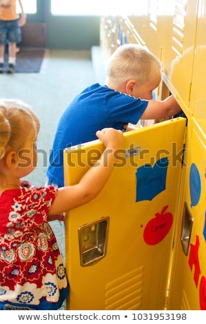 man with school lockers Stock photo © kjpargeter