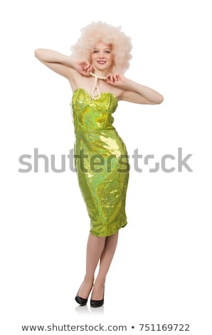 Woman wearing curly fair wig isolated on white Stock photo © Elnur