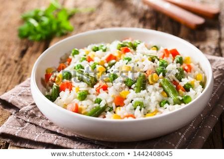 rizs · brokkoli · tál · piros · vegetáriánus · egészséges · étrend - stock fotó © digifoodstock