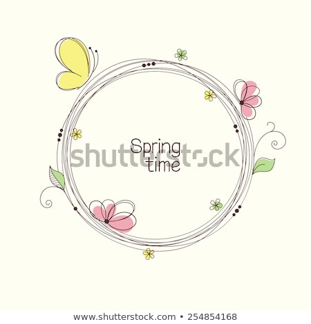 A round template with blooming flowers and butterflies Stock photo © bluering