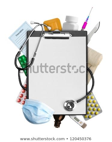 Suprimentos médicos cápsula branco medicina azul Foto stock © OleksandrO