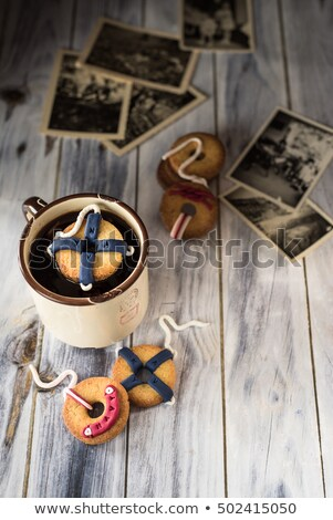 cookies decorated as navy lifebuoys. Vintage picture with old photographs Stock photo © faustalavagna