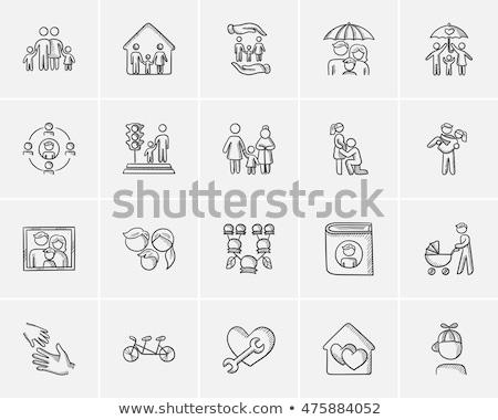 familie · icon · abstract · vector · lang · schaduw - stockfoto © rastudio