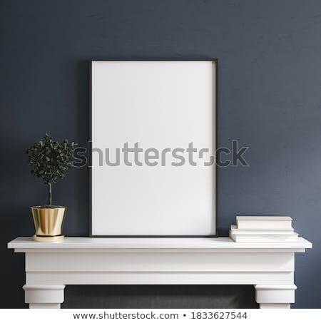 üres fényképkeret háttér szoba kék belső Stock fotó © SArts