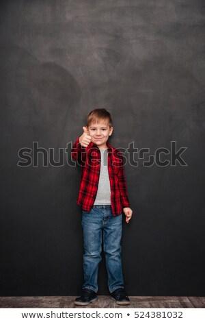 Stock fotó: Fiú · áll · tábla · készít · remek · kézmozdulat