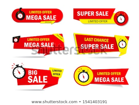 discount and sale banner design with clock icon Stock photo © SArts