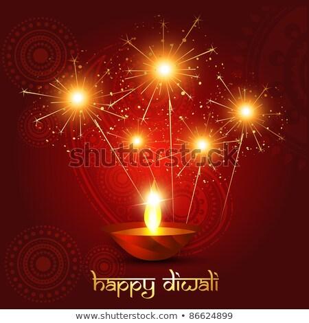 Artistiek diwali festival gouden kaars lamp Stockfoto © SArts