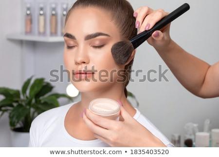 Szépség portré csinos fiatal nő smink fekete Stock fotó © deandrobot