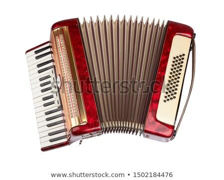 Harmonika fekete izolált fehér terv piros Stock fotó © Kayco