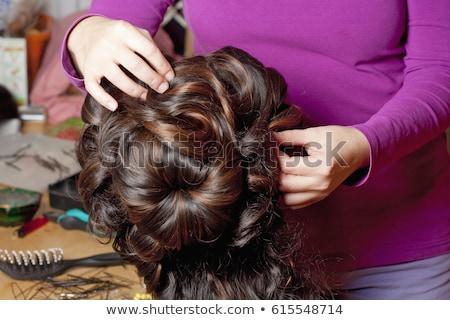 Professional Wig Maker Working in her Workshop. Stock photo © courtyardpix